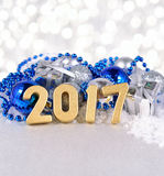 2017 year golden figures and silvery and blue Christmas decorati Royalty Free Stock Images