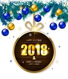 2018 year golden figures on a spruce branch. Vector illustration Royalty Free Stock Photo