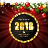 2018 year golden figures on a spruce branch Royalty Free Stock Photos