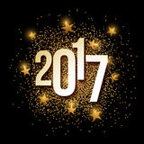 Year 2017 golden glitter background banner. New Year 2017 banner with gold glitter. Vector illustration. Elements are layered separately in vector file Stock Photography