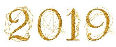 Year 2019 golden number design with gold geometric shape crystal watercolor new year sign. Nineteen stock image