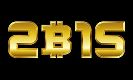 Year 2015, golden numbers with bitcoin currency symbol Royalty Free Stock Photo