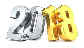 Year 2018 golden silver 3d Royalty Free Stock Photos