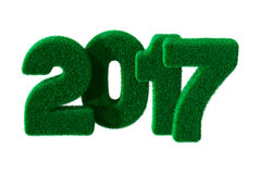 2017 year from grass. Isolated 3D Stock Photography