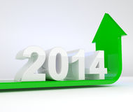 Year 2014 - green arrow bends upwards Stock Images