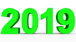 Year 2019 green 3d numbers isolated on white. 3d rendering vector illustration