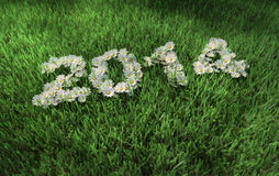 2014 year. 2014 on the green grass Vector Illustration