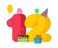 12 year greeting card Birthday. 12th anniversary celebration Template. twelve number and festive piece of cake with candle. royalty free illustration