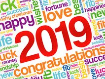 2019 year greeting word cloud collage royalty free illustration
