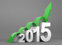 Year 2015 growth. 3D render illustration - year 2015 business growth graph Stock Photo