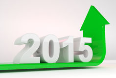 Year 2015 growth. 3D render illustration - green arrow bends upwards under 2015 text object Stock Image