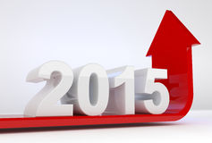 Year 2015 growth. 3D render illustration - red arrow bends up under 2015 text Stock Image