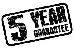 5 year guarantee. Black grunge text graphics 5 year guarantee stamped inside rectangle on white Stock Image