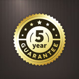 5 year guarantee business gold  label Stock Image