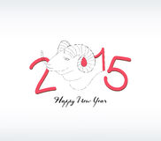 2015 year hand drawn background with a goat. Merry christmas background and greeting card design Royalty Free Stock Images