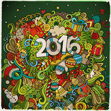 2016 year hand lettering and doodles elements. Background. Vector colorful illustration Stock Photo