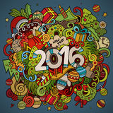 2016 year hand lettering and doodles elements. Background. Vector colorful illustration Royalty Free Stock Photography