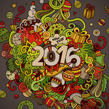 2016 year hand lettering and doodles elements. Background. Vector colorful illustration Stock Photos