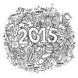 2015 year hand lettering and doodles elements Stock Photos