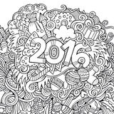 2016 year hand lettering and doodles elements. Background. Vector sketchy illustration Stock Photos