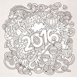 2016 year hand lettering and doodles elements. Background. Vector sketchy illustration Stock Image