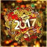 2017 year hand lettering and doodles elements illustration. 2017 year hand lettering and doodles elements vector illustration. Blurred background Royalty Free Stock Photos