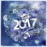 2017 year hand lettering and doodles elements illustration. 2017 year hand lettering and doodles elements vector illustration. Blurred background Royalty Free Stock Image