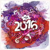2016 year hand lettering and doodles elements. Watercolor background. Vector illustration Royalty Free Stock Image