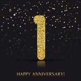 1 year Happy anniversary banner with gold elements. Vector illustration Stock Image