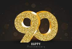 90 - year happy anniversary banner. 90th anniversary gold logo on dark background. Vector illustration stock illustration