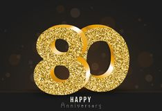 80 - year happy anniversary banner. 820th anniversary gold logo on dark background. 80 - year happy anniversary banner. 80th anniversary gold logo on dark vector illustration