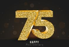 20 - year happy anniversary banner. 20th anniversary gold logo on dark background. Vector illustration Stock Image