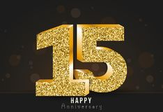 15 - year happy anniversary banner. 15th anniversary gold logo on dark background. Vector illustration vector illustration