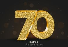 70 - year happy anniversary banner. 70th anniversary gold logo on dark background. Vector illustration stock illustration
