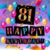 81 year Happy Birthday Card. With balloons and ribbons, 81st birthday - vector EPS10 royalty free illustration