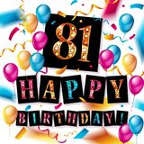 81 year Happy Birthday Card. With balloons and ribbons, 81st birthday - vector EPS10 Stock Photo
