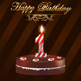 1 year Happy Birthday Card with cake and candles Royalty Free Stock Image