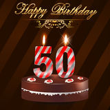 50 year Happy Birthday Card with cake and candles, 50th birthday Stock Photos