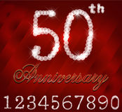 50 year happy birthday card, 50th anniversary sparkles. Created 50 years celebration, 50th happy birthday retro card - eps10 vector Royalty Free Stock Image