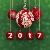 2017 Year_2. Happy New Year background and composition. Christmas balls with symbol of 2017 New Year Red Fire Rooster. Vector illustration Stock Photos