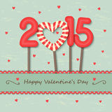 Year 2015 and heart candy background Stock Photography
