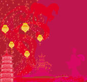 Year of Horse - Chinese New Year 2014. Illustration royalty free illustration