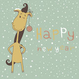 Year of the horse. Christmas and New Year card. Stock Photo