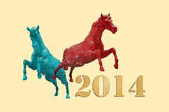 Year of the horse concept, Colorful horseon cloud Stock Image