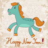 2014 year of the horse. Happy New year card with cue little horse on grungy background vector illustration