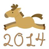 Year of The Horse. Happy new year 2014. Year of the horse. Cartoon illustration. Year of the Horse design. Year of the Horse Cartoon. Horse isolated on a white royalty free illustration
