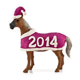 Year of the horse. Horse in a New Year costume  on a white background Royalty Free Stock Image