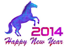 2014 year of a horse. New year, drawing paint , drawing watercolor, new year's background Royalty Free Stock Photo