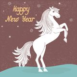 Year of horse. Prancing year of horse vector illustration Stock Photo