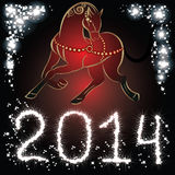 Year of the horse. Red Horse - symbol of new 2014 year stock illustration